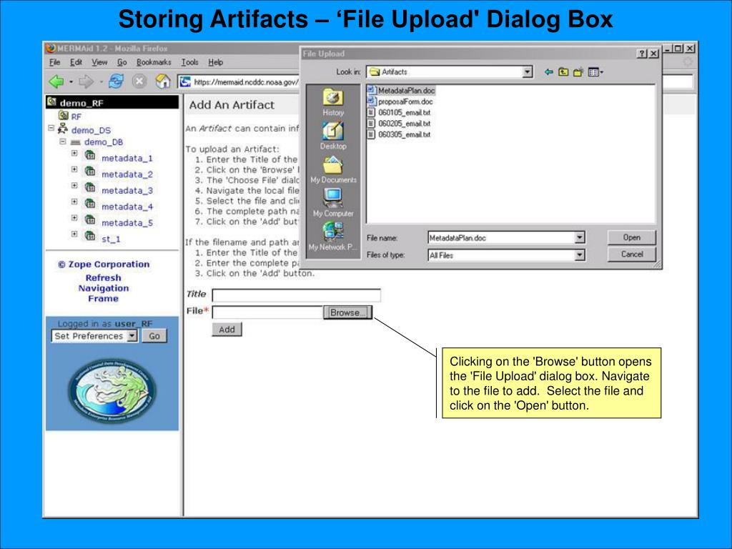 Storing Artifacts – 'File Upload' Dialog Box