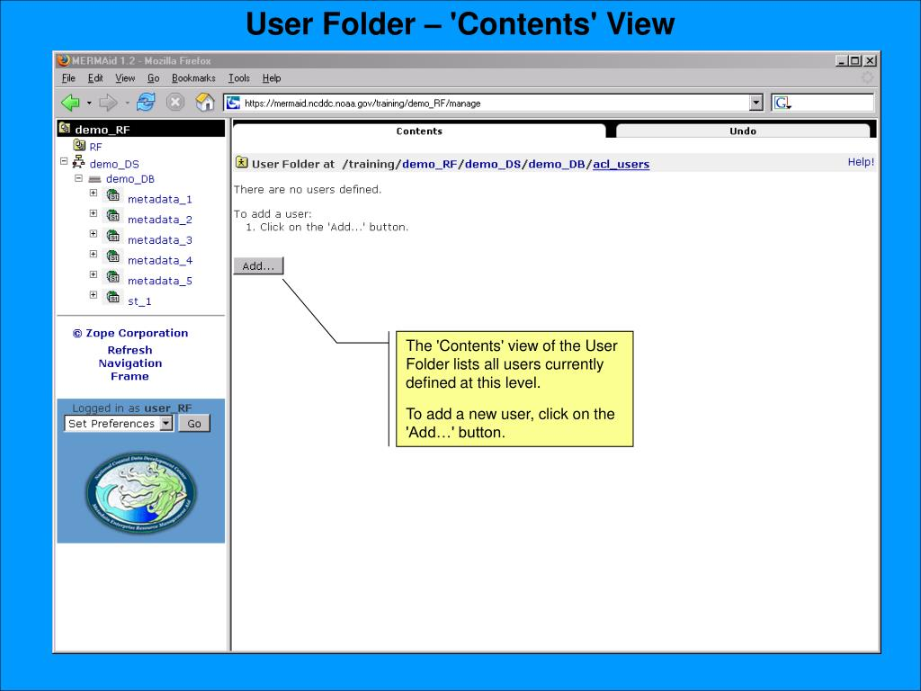 User Folder – 'Contents' View