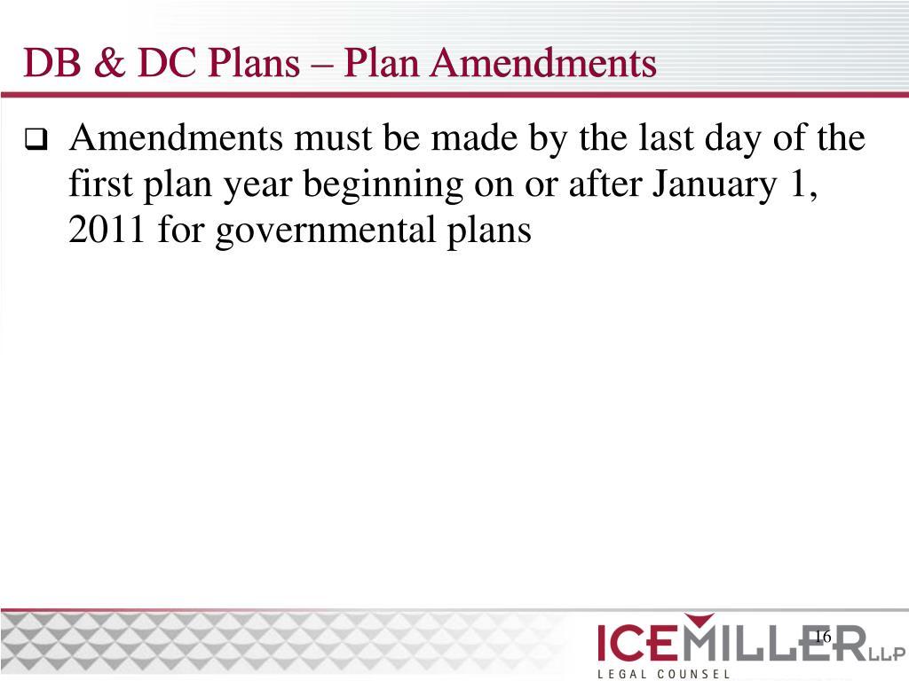 DB & DC Plans – Plan Amendments