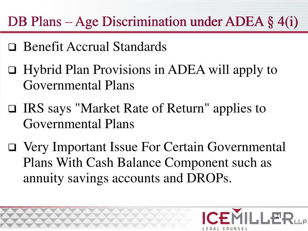 DB Plans – Age Discrimination under ADEA § 4(i)