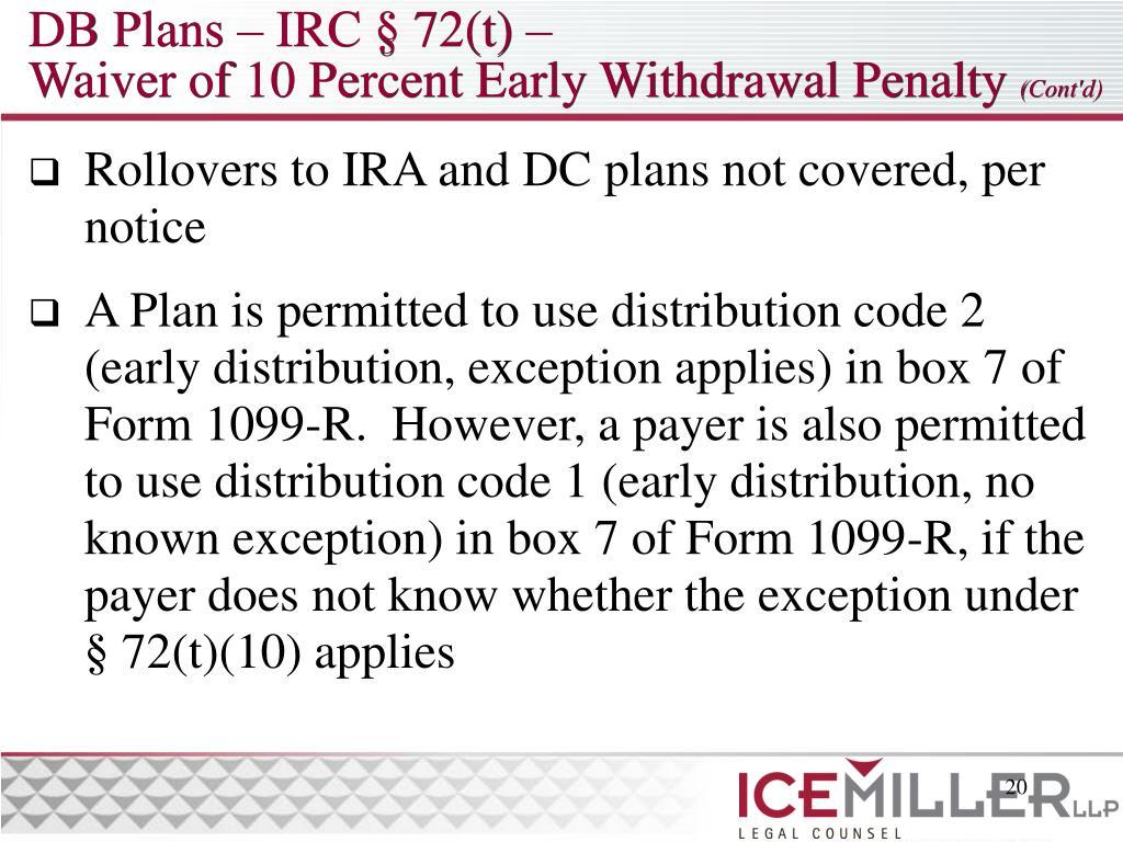 DB Plans – IRC § 72(t) –