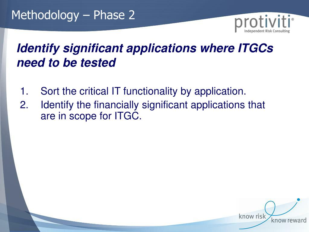Sort the critical IT functionality by application.