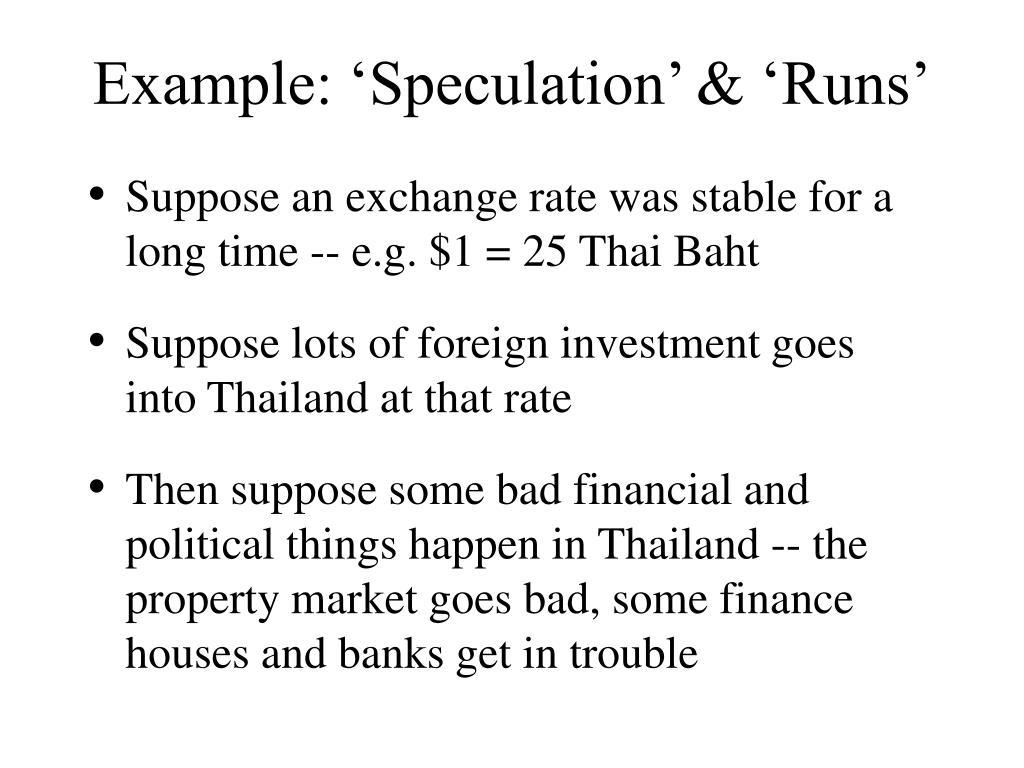 Example: 'Speculation' & 'Runs'