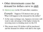 other determinants cause the demand for dollars curve to shift