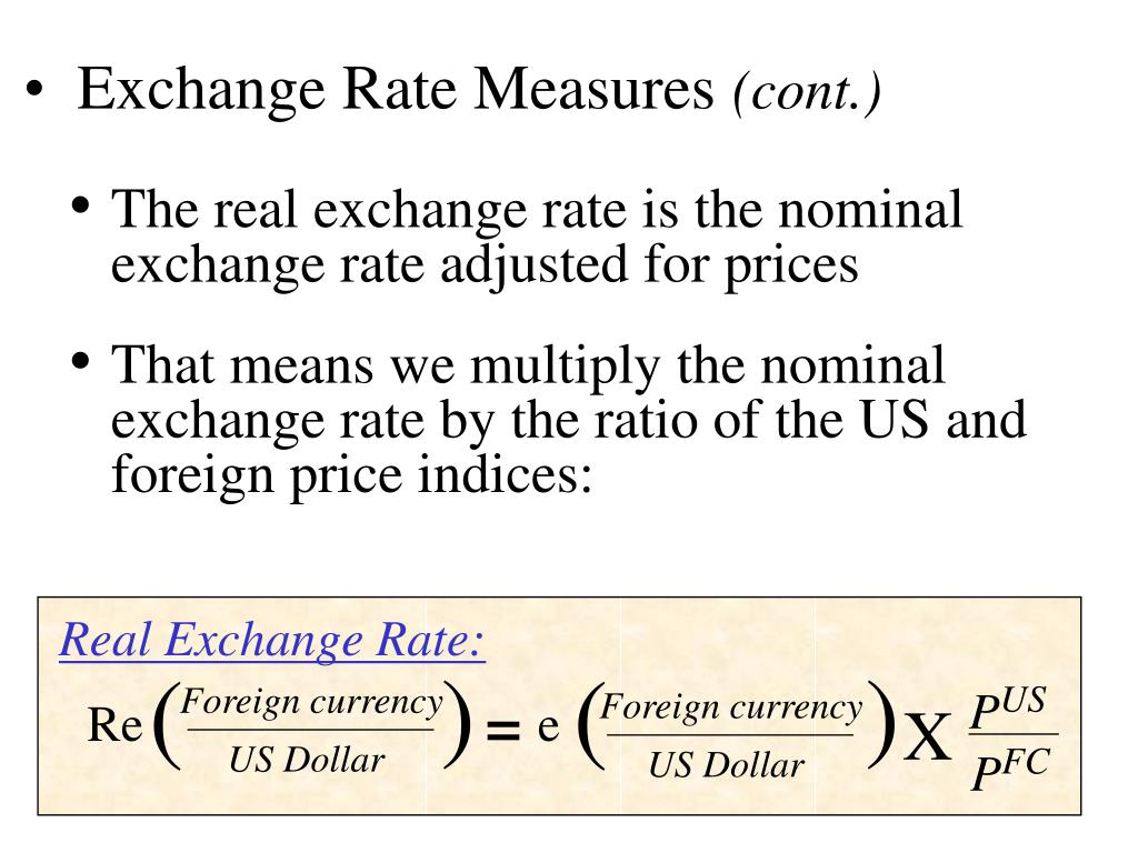 Real Exchange Rate: