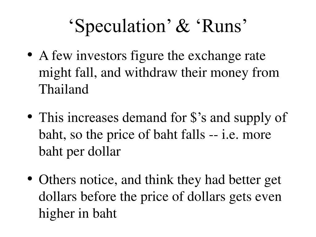 'Speculation' & 'Runs'