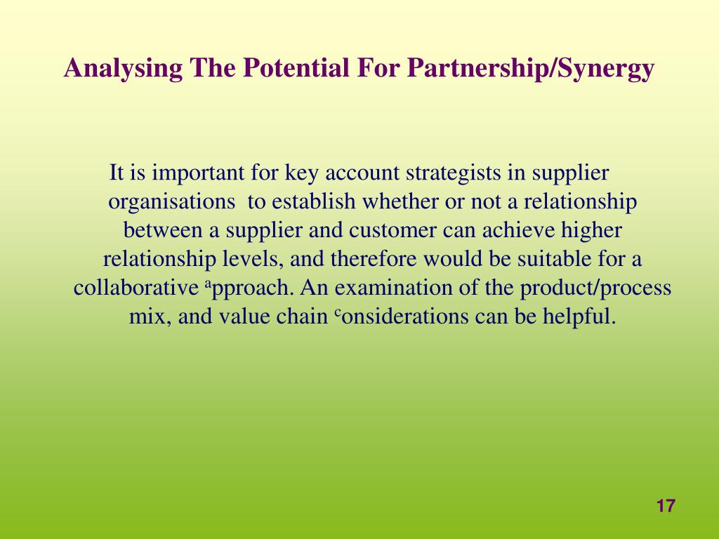 Analysing The Potential For Partnership/Synergy
