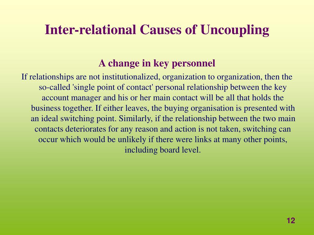 Inter-relational Causes of Uncoupling