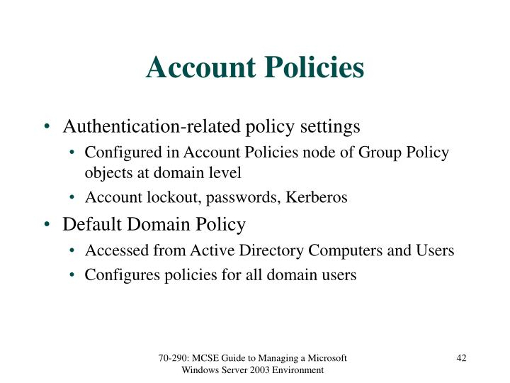 Account Policies