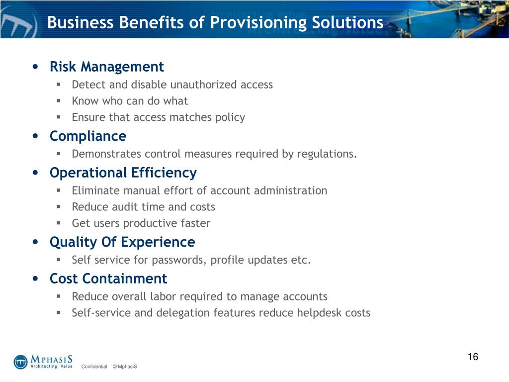 Business Benefits of Provisioning Solutions