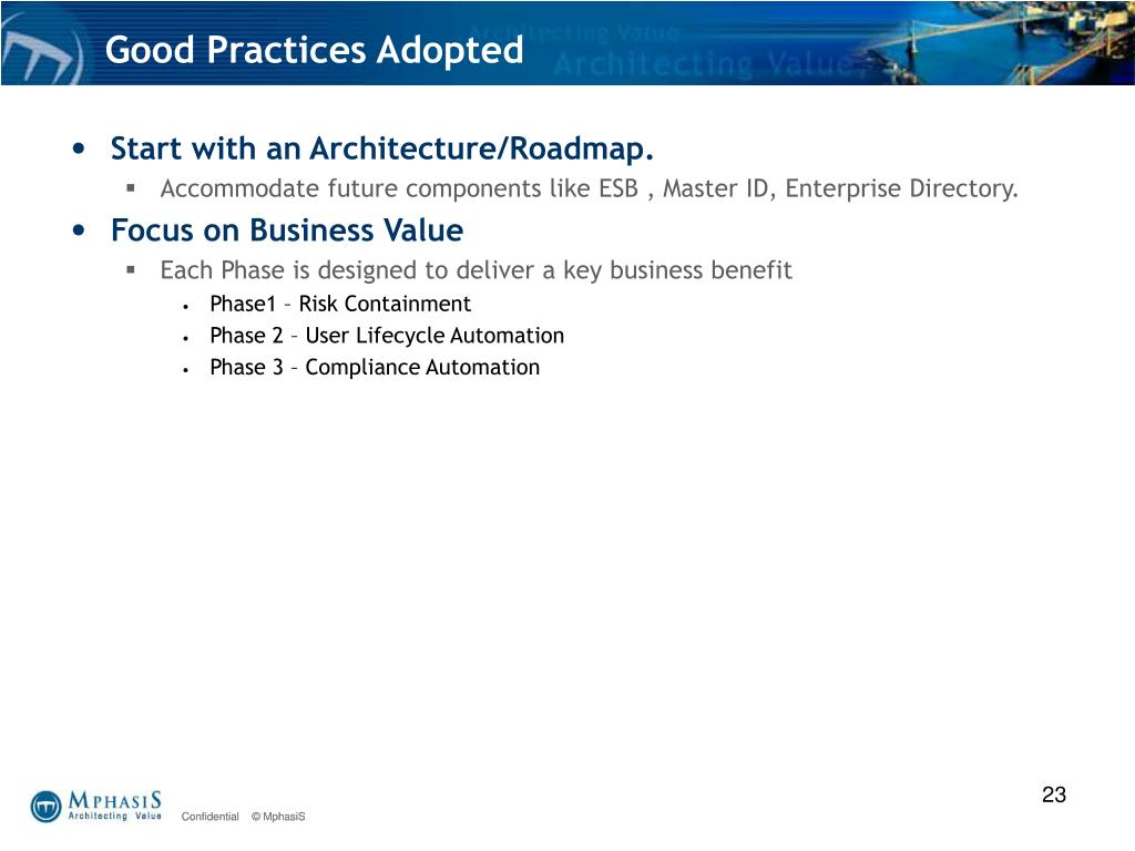 Good Practices Adopted