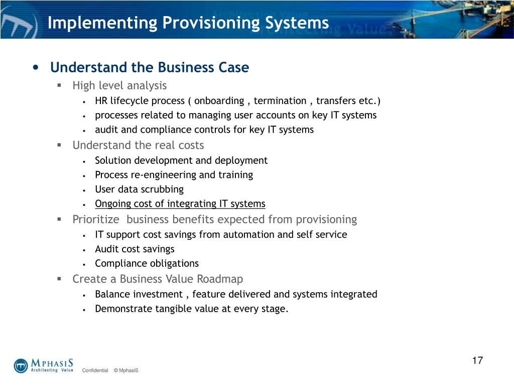 Implementing Provisioning Systems