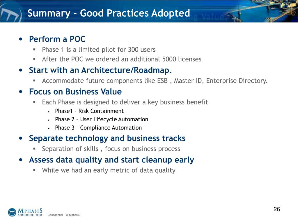 Summary - Good Practices Adopted