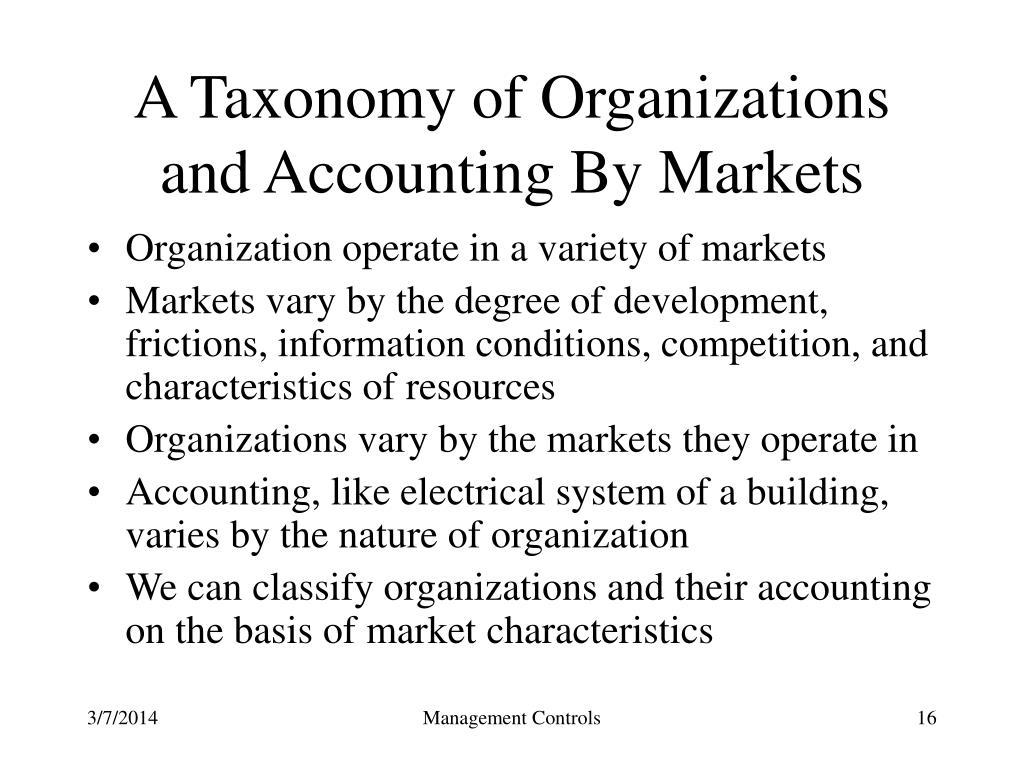 A Taxonomy of Organizations and Accounting By Markets