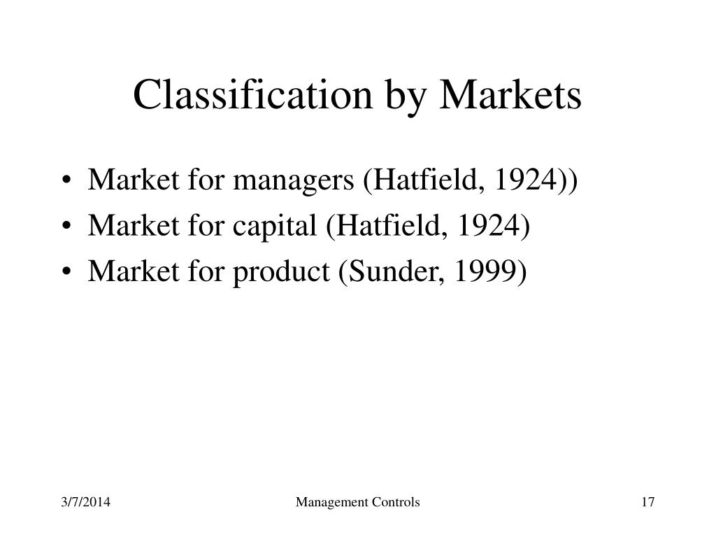 Classification by Markets
