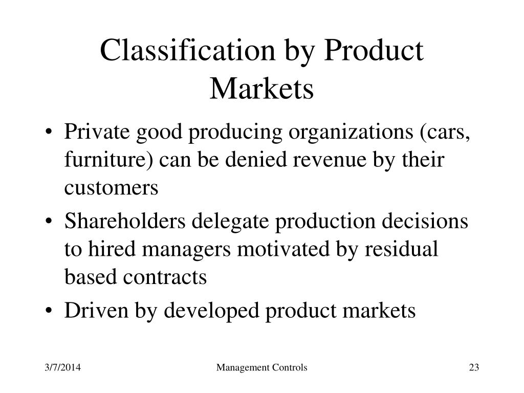 Classification by Product Markets