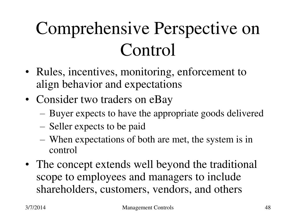 Comprehensive Perspective on Control