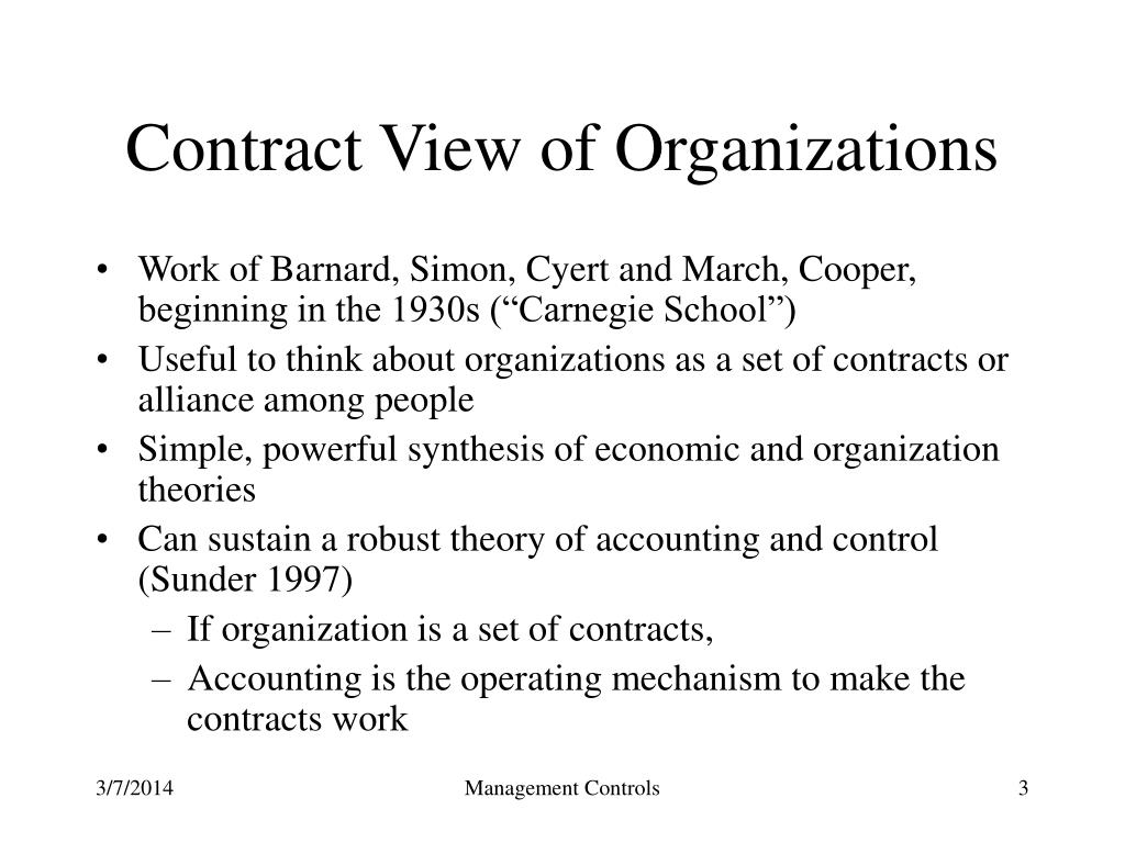Contract View of Organizations