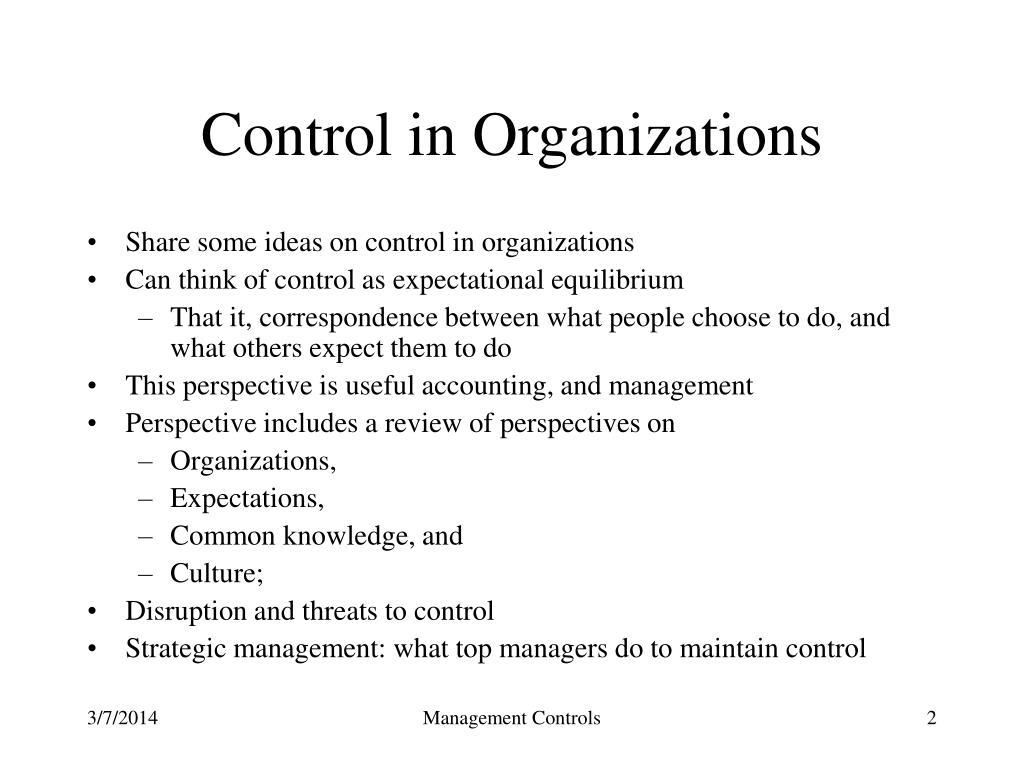 Control in Organizations