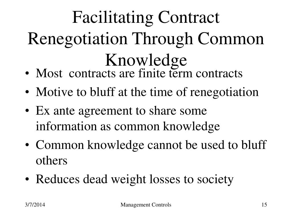 Facilitating Contract Renegotiation Through Common Knowledge