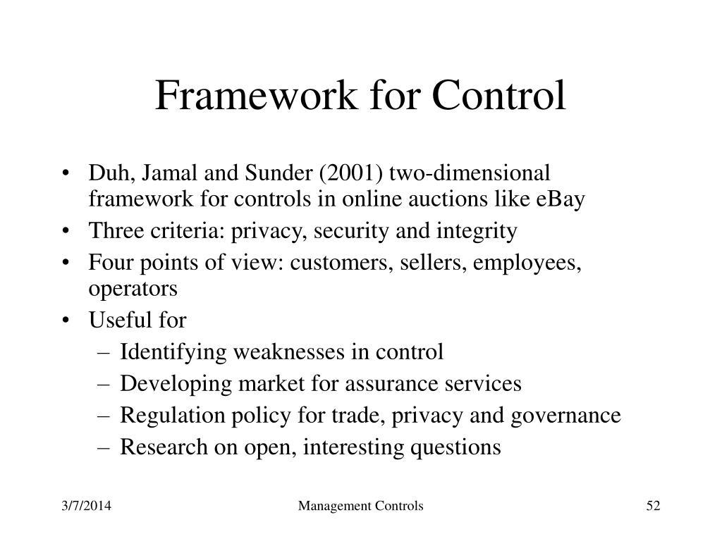 Framework for Control