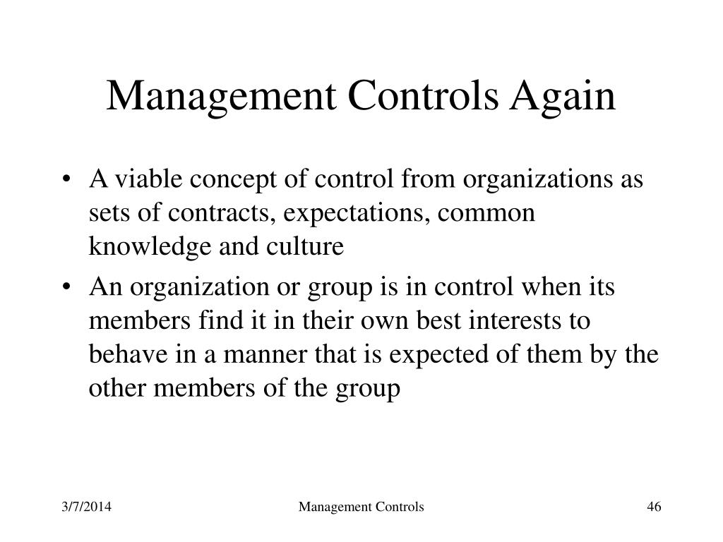 Management Controls Again