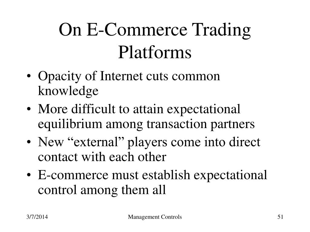 On E-Commerce Trading Platforms