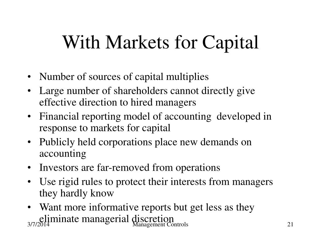 With Markets for Capital
