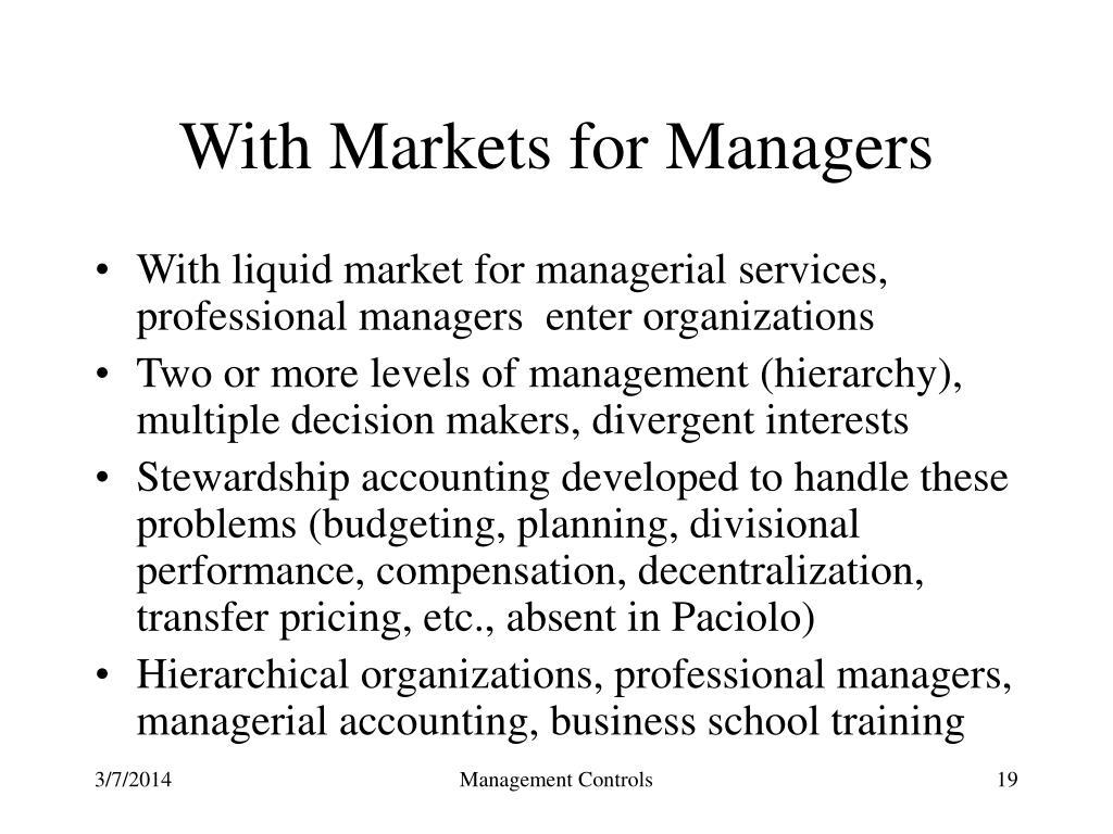With Markets for Managers