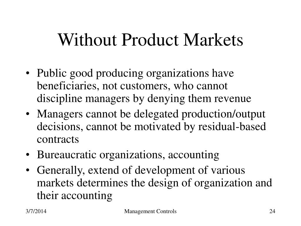 Without Product Markets