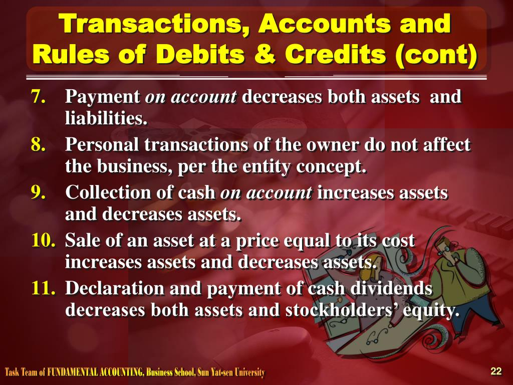 Transactions, Accounts and Rules of Debits & Credits (cont)
