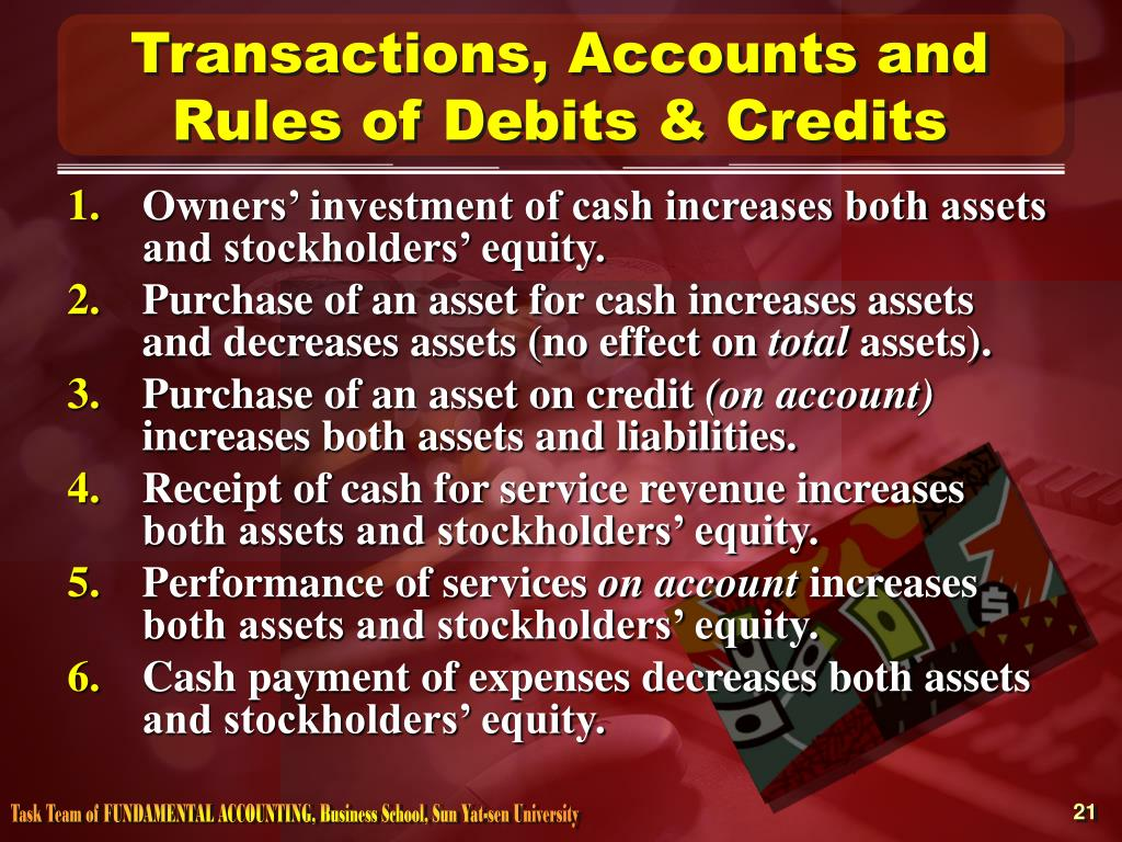 Transactions, Accounts and Rules of Debits & Credits