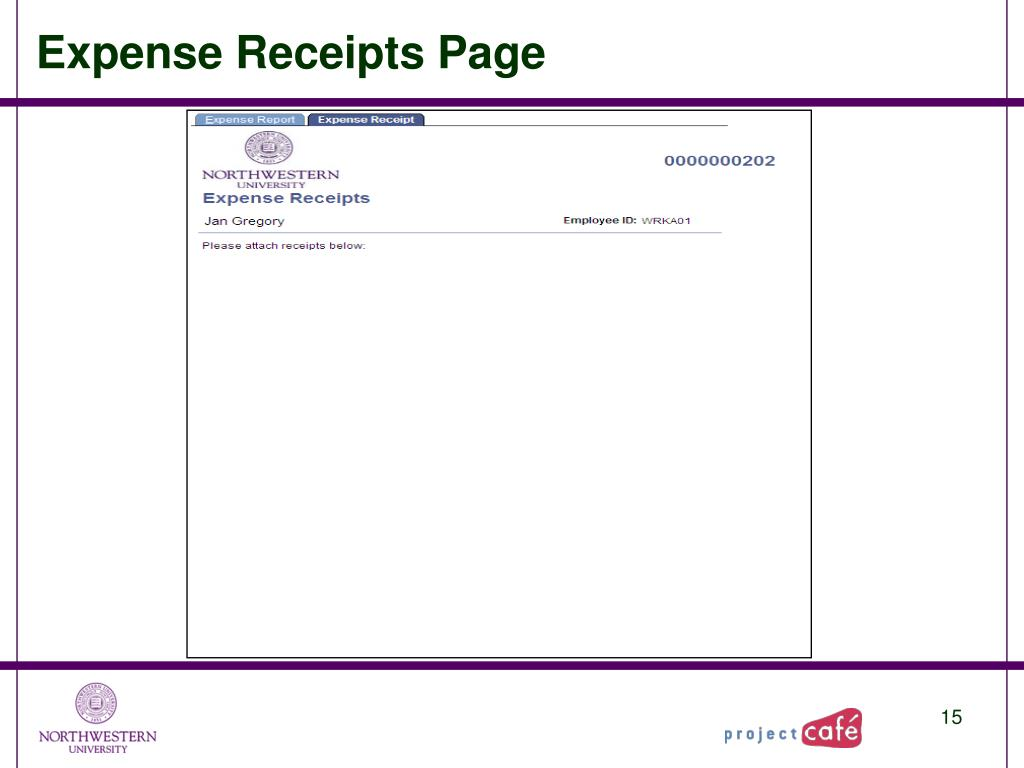 Expense Receipts Page