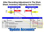 after recording adjustment in the work sheet inventory adjusting journal entry