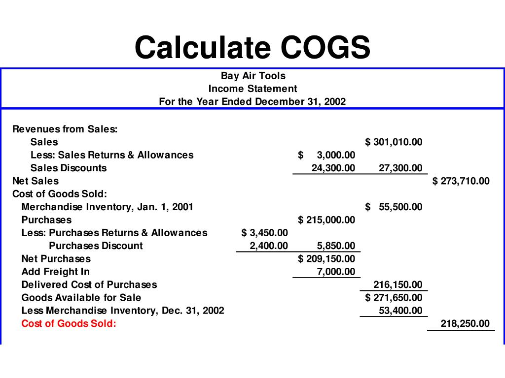 Calculate COGS