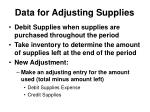 data for adjusting supplies