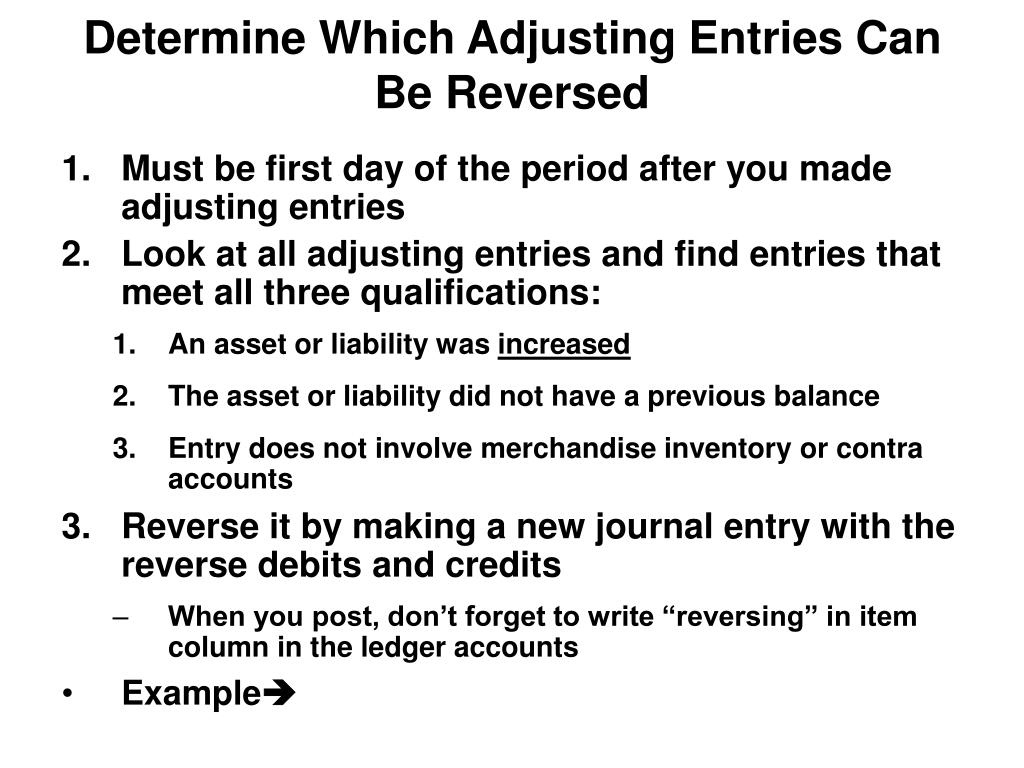 Determine Which Adjusting Entries Can Be Reversed