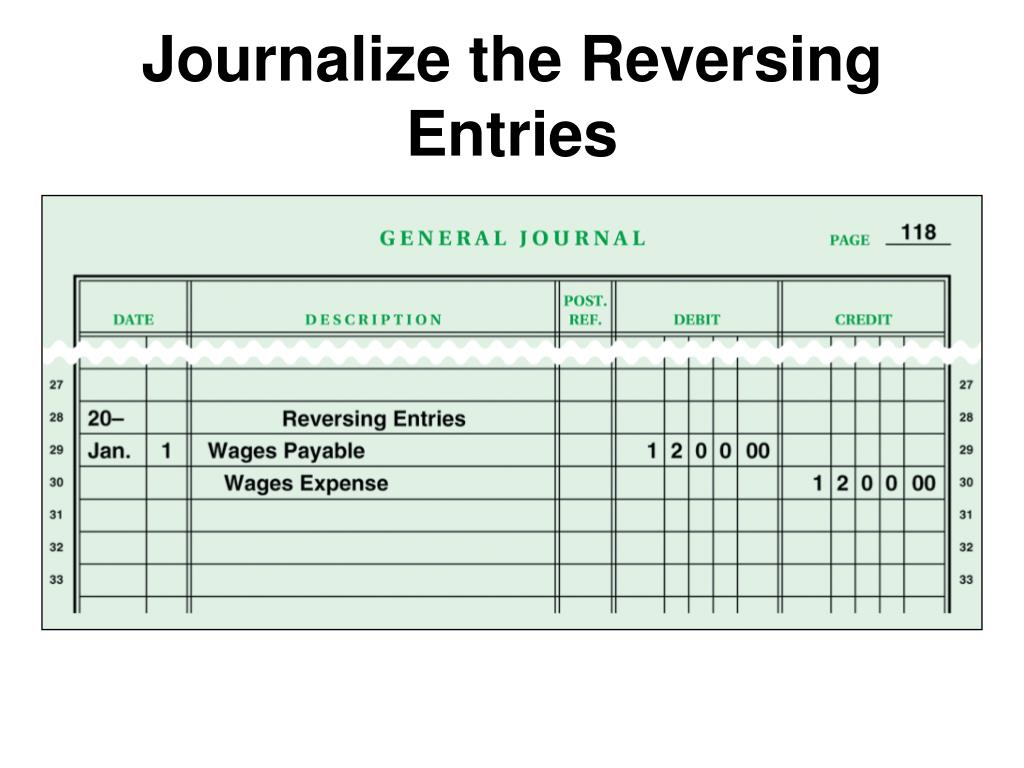 Journalize the Reversing Entries