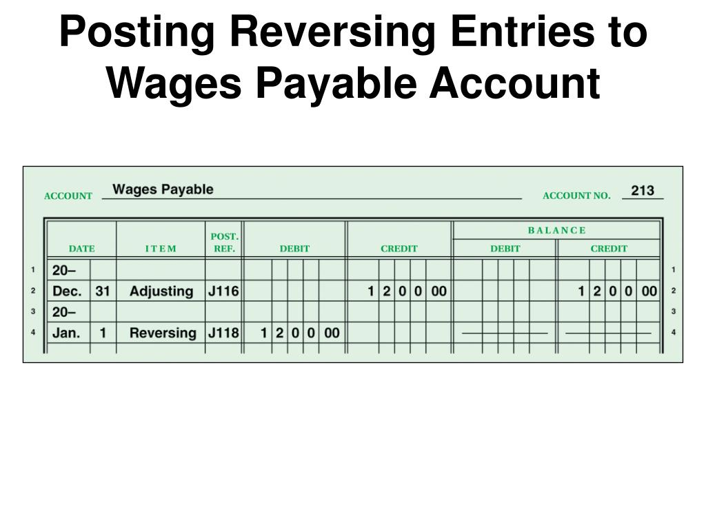 Posting Reversing Entries to Wages Payable Account