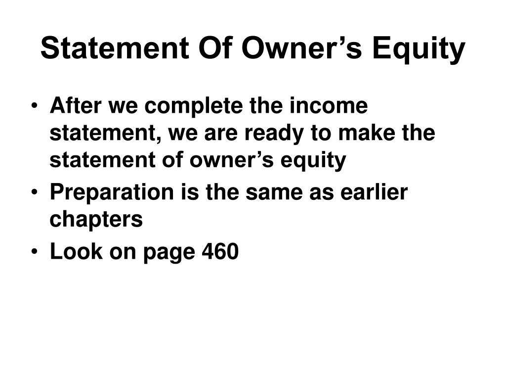 Statement Of Owner's Equity