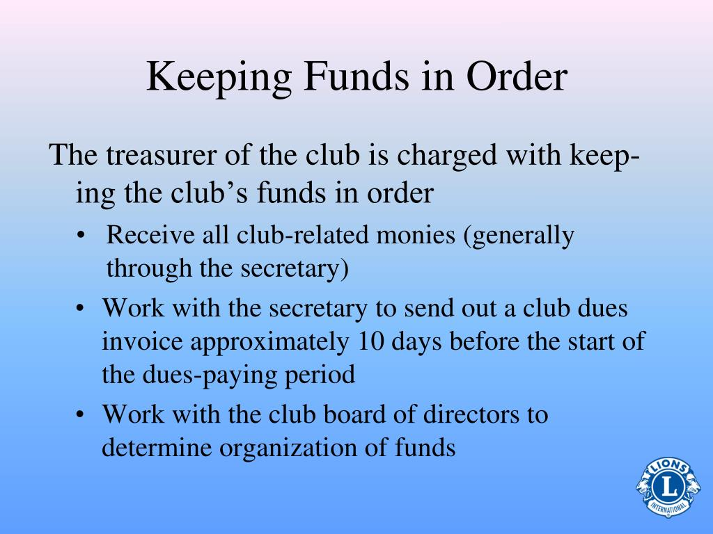 Keeping Funds in Order