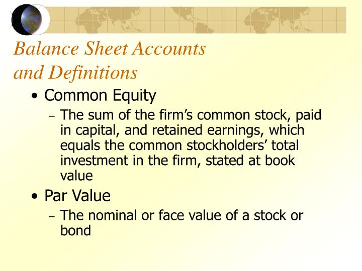 Balance sheet accounts and definitions