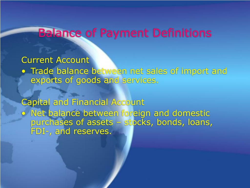 Balance of Payment Definitions