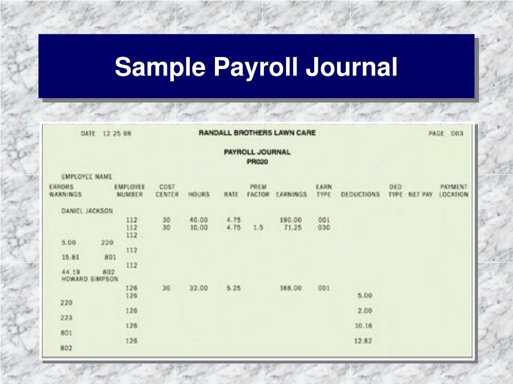 Sample Payroll Journal