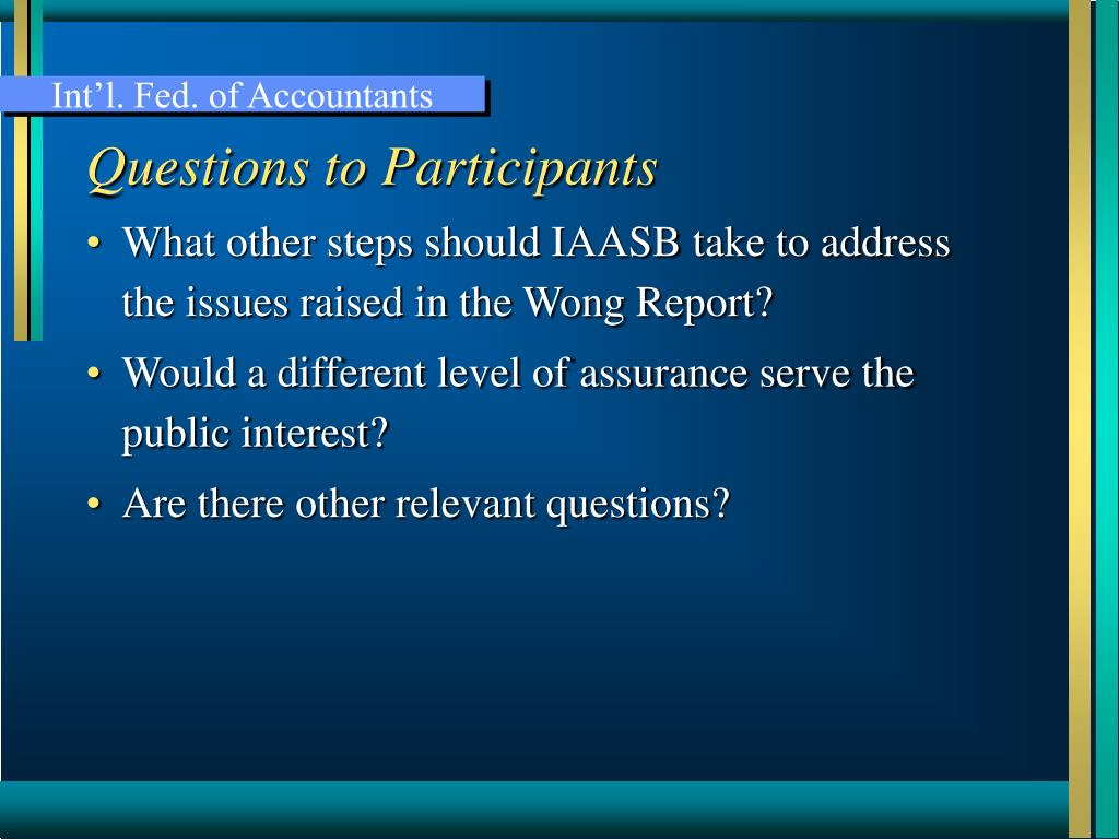 Questions to Participants