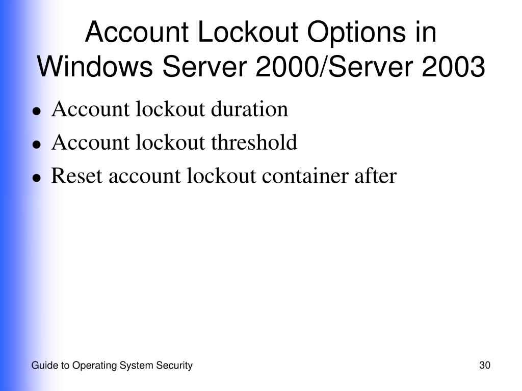 Account Lockout Options in Windows Server 2000/Server 2003