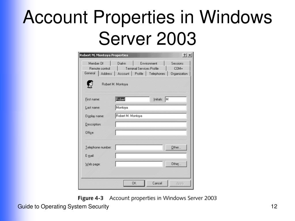 Account Properties in Windows Server 2003
