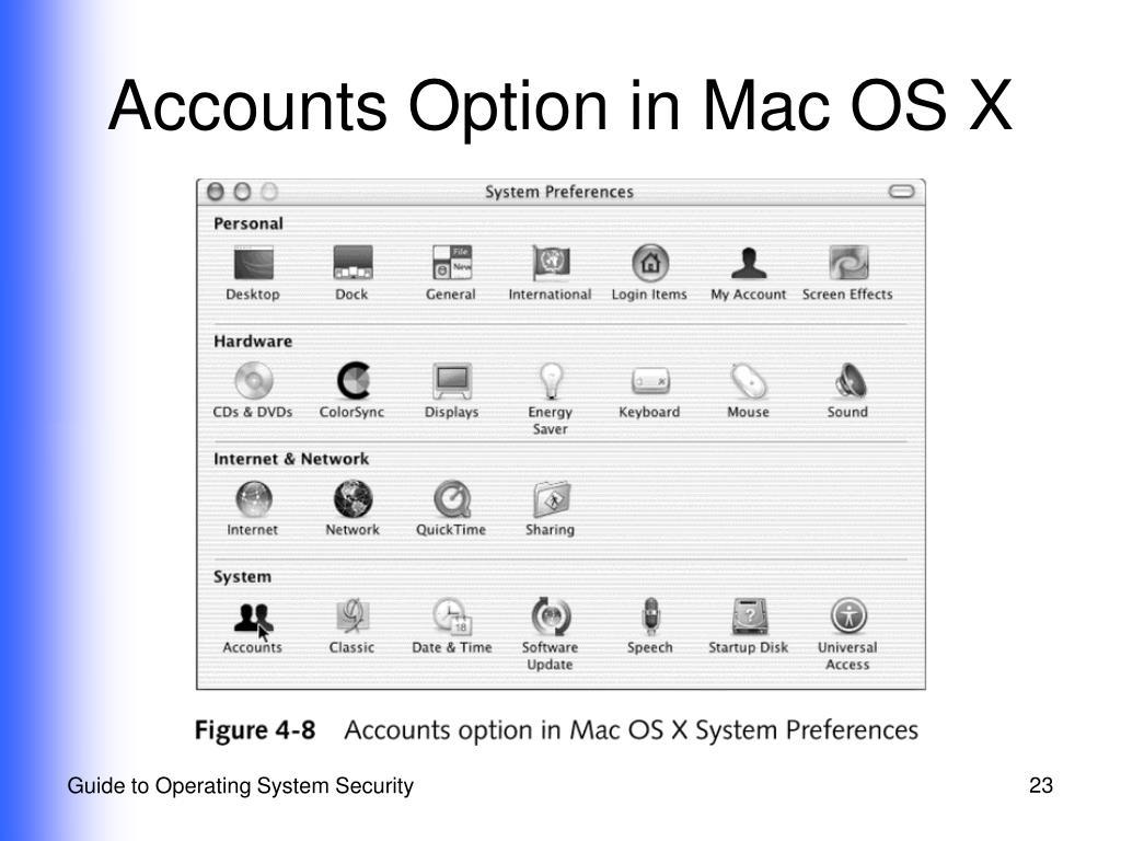 Accounts Option in Mac OS X