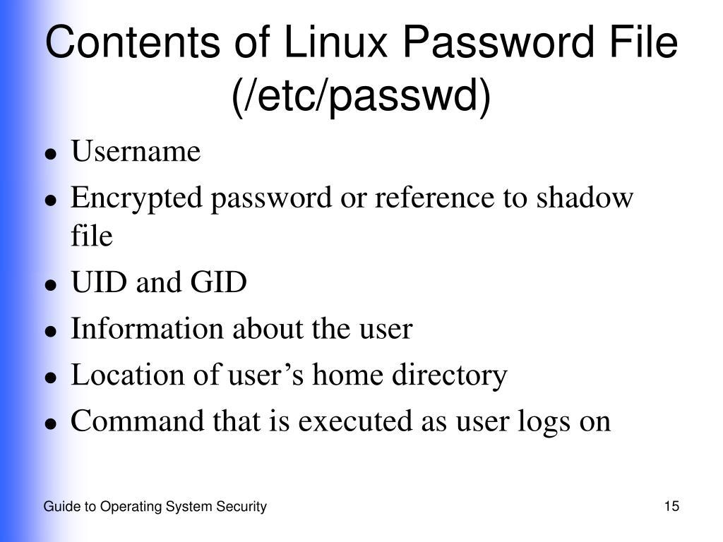 Contents of Linux Password File (/etc/passwd)