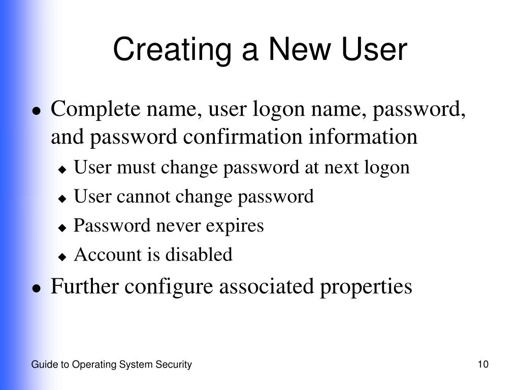 Creating a New User